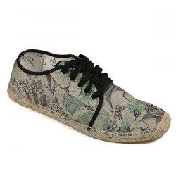 Espadrilles Floral Print Flat Shoes - GREEN