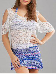 Tribal Print Skirted Bikini and Lace Cover-Up