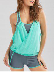 Two Tone Surplice Racerback Blouson Tankini Bathing Suit