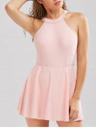 One Piece High Neck Backless Skirted Swimsuit