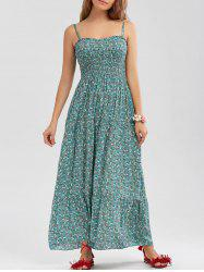 Tiny Floral Print Spaghetti Strap Beach Dress - GREEN