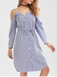 Button Up Belted Striped Cold Shoulder Shirt Dress