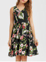 V Neck Sleeveless Floral Printed  Tropical Dress