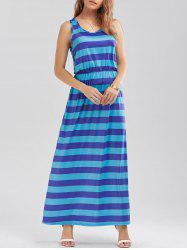 Striped High Waist Two Tone Maxi Dress
