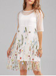 Mesh Embroidery Sheer Dress With Long Cami - WHITE L