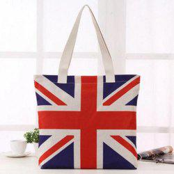 Canvas British Flag Print Shoulder Bag - RED
