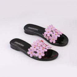 Transparent Plastic Flowers Flat Heel Slippers