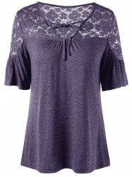 Tie Front V Neck Lace Trim Top - STORMY