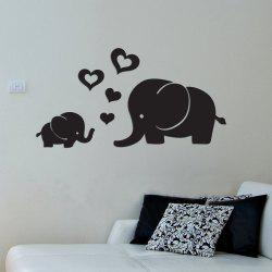 Heart Elephants DIY Acrylic Mirror Wall Sticker