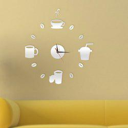Home Decor Cup Pattern Analog DIY Wall Clock - Argent