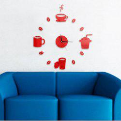 Home Decor Cup Pattern Analog DIY Wall Clock