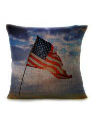 Linen Patriotic American Flag Pillow Case -