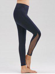 Fishnet Mesh Panel High Rise Fitness Leggings - PURPLISH BLUE