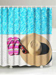 Slippers Straw Hat Sunglasses Print Bathroom Shower Curtain