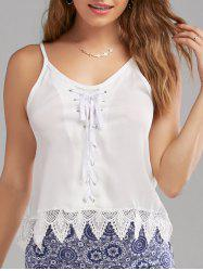 Lace Up Spaghetti Strap Tank Top