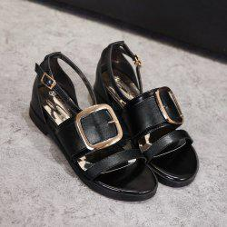 Flat Heel Double Buckle Strap Sandals