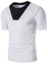 Raglan Sleeve Color Block Panel Button T-shirt -