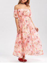 Off The Shoulder Chiffon Floral Prom Maxi Dress - PINK