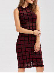 Grid Print Mock Neck Slit Bodycon Dress