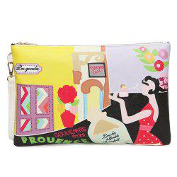 PU Leather Cartoon Printed Clutch Bag - YELLOW