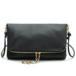 Faux Leather Fold Down Crossbody Bag - BLACK