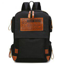 Multi Pockets Graphic Patch Backpack - BLACK