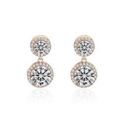 Rhinestone Doubled Round Dangle Earrings