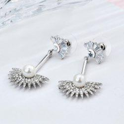 Rhinestone Faux Pearl Bar Fan Shaped Earrings