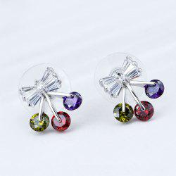 Rhinestone Bow Shaped Tiny Stud Earrings