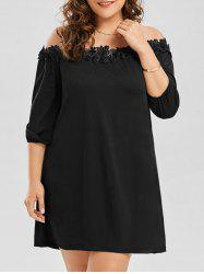 Off Shoulder Plus Size Lace Trim Dress - BLACK