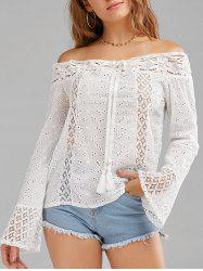 Lace Trim Long Sleeve Off The Shoulder Top -