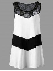 Plus Size Sleeveless Lace Trim Monochrome T-shirt