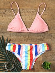 Colorful Rainbow Striped Print Skimpy Bikini