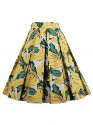 Print High Waisted Pleated Skirt