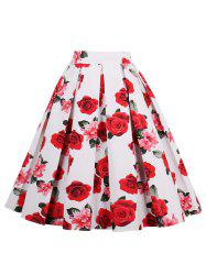 Print High Waisted A Line Skirt - RED