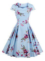 Vintage Floral Print A Line Pleated Dress - BLUE