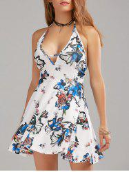 Backless Halter Floral Mini A Line Dress