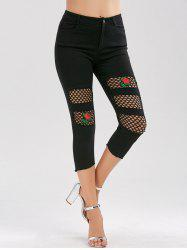 Rose Embroidered High Waisted Fishnet Insert Pants