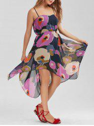 High Waist Ornate Print Belted Slip Dress