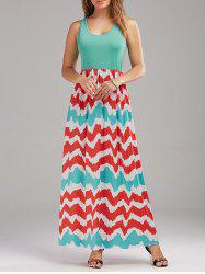 High Waist Zig Zag Maxi Dress