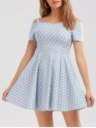 Short Polka Dot Cold Shoulder Formal Dress