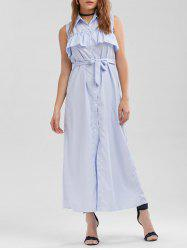 Flounce Belted Striped Longline Shirt Dress