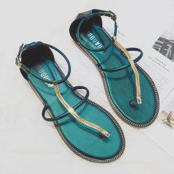 Belt Buckle Flat Heel PU Leather Sandals