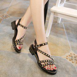 Flat Heel Rivets Faux Leather Sandals