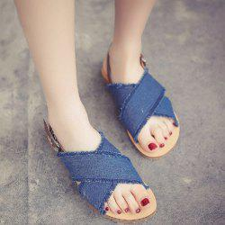 Denim Flat Heel Buckle Strap Sandals