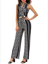 Printed Sleeveless Wide Leg Jumpsuit