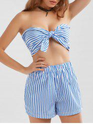 Striped Knotted Top and High Waisted Shorts - BLUE STRIPE