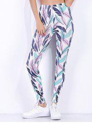 Tropical Leaf Printed High Waist Workout Leggings