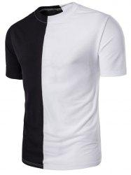 Crew Neck Color Block Panel Short Sleeve T-shirt