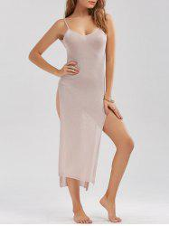 Sheer High Slit Knitted Midi Dress